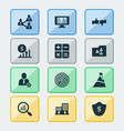 work icons set with protection analytics vector image
