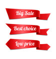 sale red ribbon banners with text vector image