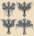 winged cross set vector image