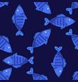 blue fish seamless pattern vector image