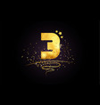 3 number icon design with golden star and glitter vector image vector image