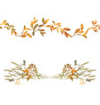 autumn seamless border and floral composition vector image