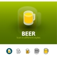 Beer icon in different style vector image vector image