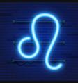 blue shining cosmic neon zodiac leo symbol on vector image