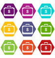 briefcase full of money icon set color hexahedron vector image vector image