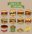 Burger and Fries Doodle Collection vector image vector image