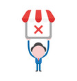 businessman character holding up shop store with vector image vector image