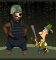 cartoon hunter with a gun was afraid of a bear vector image vector image