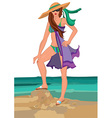 Cartoon young woman in swimsuit in sunglasses and vector image vector image