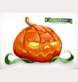 carved pumpkin happy halloween 3d icon vector image vector image