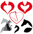 Cat dog horse heart set vector image vector image