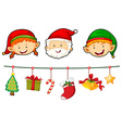 Christmas set with Santa and elf vector image vector image