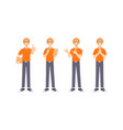 collection delivery staff in uniform in many vector image vector image