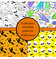 collection seamless patterns for halloween vector image