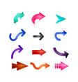 colored arrow logo set vector image vector image