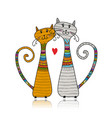 couple of cats in cozy sweaters sketch for your vector image vector image