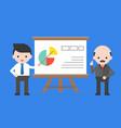 cute businessman presentation company information vector image