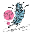 Feather with ink lettering vector image vector image