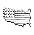 figure map with flag inside to celebrate patrotism vector image