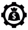 gear piece with a money bag icon vector image