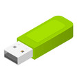Green usb flash icon isometric style