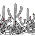 hand drawn seamless pattern with jars saguaro vector image