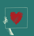 hand holding banner with big red heart sketch on vector image