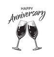 happy anniversary card text and two sparkling vector image vector image