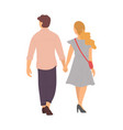 happy people walk holding hands back view vector image