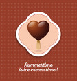 ice cream chocolate heart on a stick icon vector image vector image
