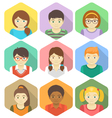 Kids Avatars in Hexagons vector image