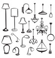 lamp furniture doodles set ceiling light design vector image vector image