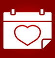 lovely calendar glyph icon valentines day vector image vector image