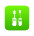 mascara brush icon green vector image