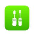 mascara brush icon green vector image