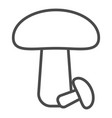 mushroom icon - in line stroke design vector image vector image