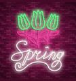 neon banner spring stock poster for vector image vector image