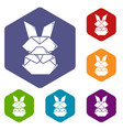 origami bunny icons hexahedron vector image vector image