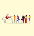 people customers with groceries standing line vector image