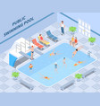 public swimming pool isometric composition vector image