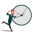 running businessman with huge clock time vector image vector image