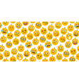 seamless background of pumpkins emoticons vector image vector image