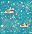 seamless winter pattern with bunnies vector image