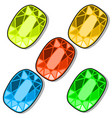 set of five colorful chips for three in row games vector image