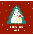 Sheep and Christmas tree vector image vector image