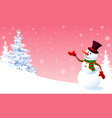 snowman on a background of pink sky vector image vector image