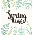 Stylish lettering Spring timewith plants Spring vector image