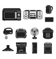 types of household appliances black icons in set vector image