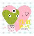 valentines day funny card with cactus vector image vector image