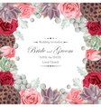 Wedding invitation with peony roses and succulents vector image vector image